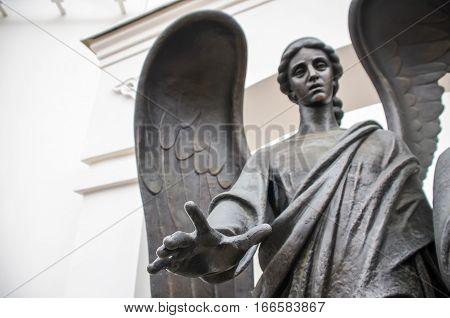 Angel Monument On Nemiga Square. Minsk, Belarus.