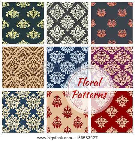 Flowery ornate baroque patterns set. Seamless vector floral damask embellishment motif and flourish ornamental tracery. Luxury rococo royal flowers adornment tiles for interior design backdrops poster