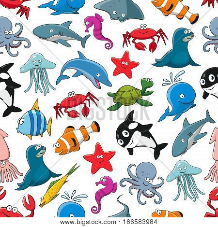 Cartoon pattern of sea fish and ocean animals starfish and seahorse, squid and jellyfish, seal, dolphin and shark whale, lobster crab, octopus, stingray and penguin, turtle, clown fish or flounder and tropical butterflyfish. Seamless vector