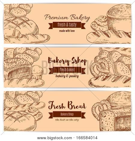 Bread and bakery banners. Set of sketch wheat bread bagel, rye loaf brick, white wheat toast bread, fresh baked pretzel and crunch pie, sweet sesame roll bun and croissant, braided bread and cupcake. Vector design for premium pastry or baker shop