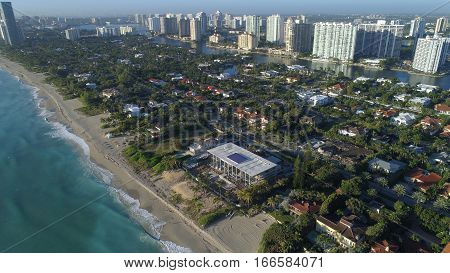 Aerial image of Golden Beach luxury waterfront homes
