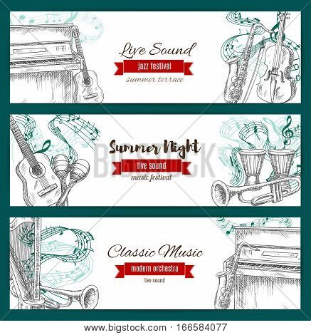 Banners for musical jazz festival. Vector sketch of music instruments set sax or saxophone, acoustic guitar and piano with violin bow, clef note stave, maracas and ethnic drums with cymbals, harp and trumpet for live sound concert