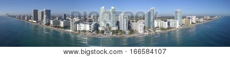 Aerial panorama of Hollywood Beach FL USA