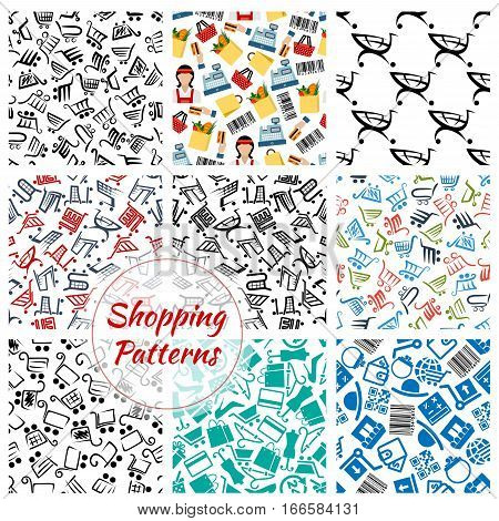 Shopping pattern. Consumer retail items shopping cart basket and bag, money purse or wallet and woman fashion shoe, hat and dress on hanger, credit card, shop price barcode, gift box, seller at grocery store counter. Vector seamless background
