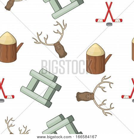 Attractions of Canada pattern. Cartoon illustration of attractions of Canada vector pattern for web
