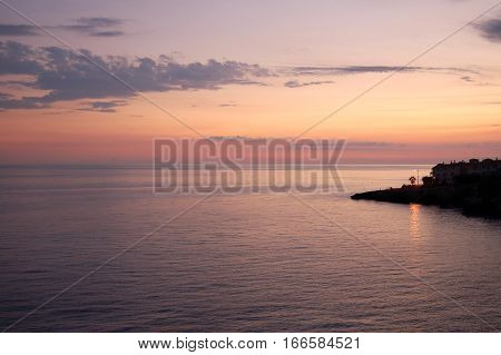 Colorful twilight view from the Balcon de Europa in Nerja, Andalucia, Spain