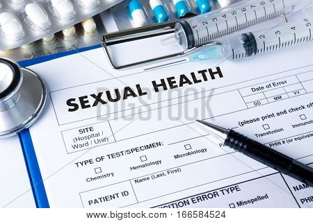 SEXUAL HEALTH Application Concept health care attributes, background,