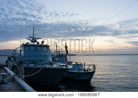 Warship with morning sky in the sea