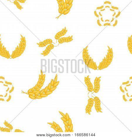 Grain of wheat pattern. Cartoon illustration of grain of wheat vector pattern for web
