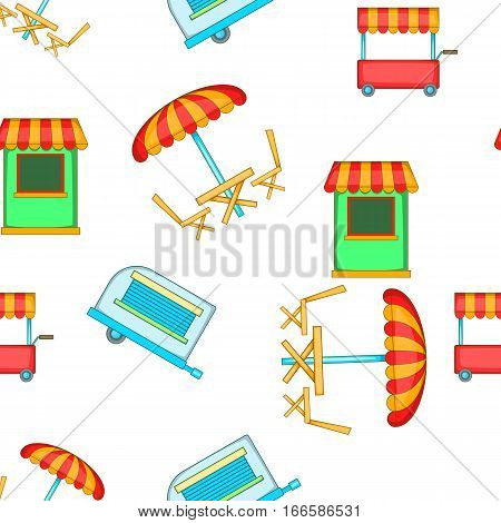 Meals on wheels pattern. Cartoon illustration of meals on wheels vector pattern for web