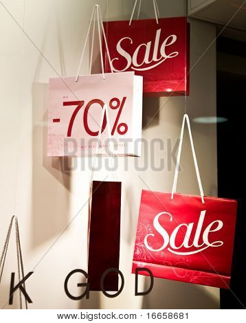 Shopping Bags With Sale Sign. Shopping Series.