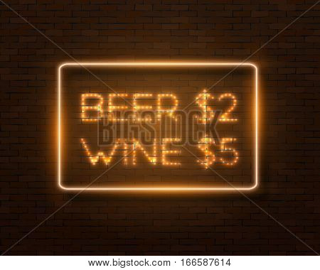 Illustration of Realistic Vector Neon Frame. Glowing Neon Bar Sign. Beer Vine Sale Retro Neon Frame