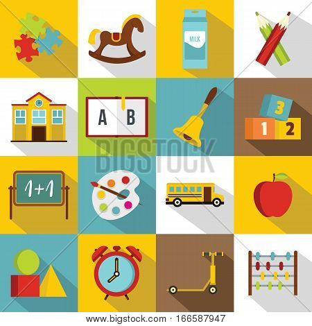Kindergarten symbol icons set. Flat illustration of 16 kindergarten symbol vector icons for web