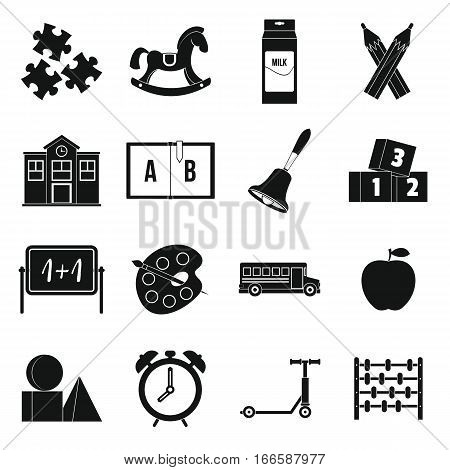 Kindergarten symbol icons set. Simple illustration of 16 kindergarten symbol vector icons for web