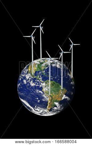 Wind Turbine in the world on black background. conceptual image. The Planet Earth original image from NASA.
