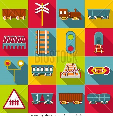 Railroad station items icons set. Flat illustration of 16 railroad station items vector icons for web