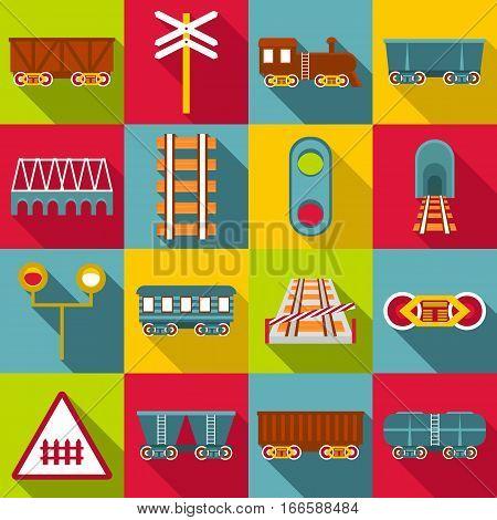Railroad station items icons set. Flat illustration of 16 railroad station items vector icons for web