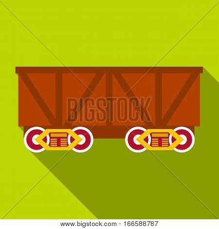 Train cargo wagon icon. Flat illustration of train cargo wagon vector icon for web design