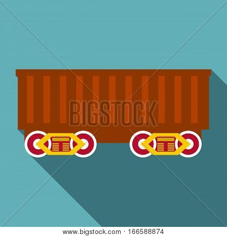 Cargo wagon icon. Flat illustration of cargo wagon vector icon for web design