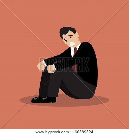 Desperate businessman sitting alone. Business concept vector illustration