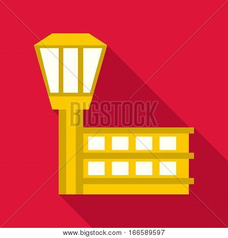 Control tower at airport icon. Flat illustration of control tower at airport vector icon for web