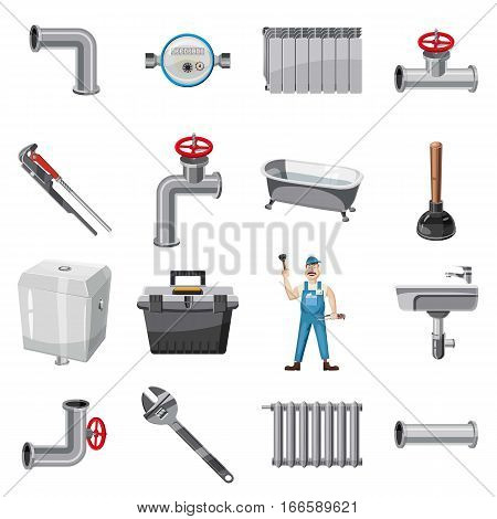 Plumber items icons set. Cartoon illustration of 16 plumber items vector icons for web