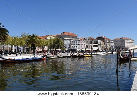 water channel with boats in Aveiro Beiras region Portugal
