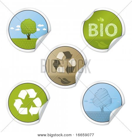 Set Of Ecology Style Vector Stickers