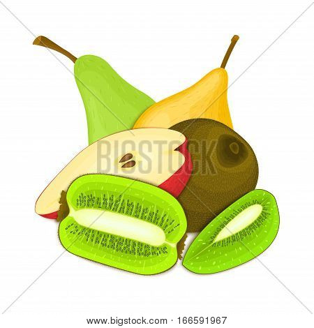 Composition of juicy pear and kiwi. Ripe vector kiwifruit and pears fruits whole and slice appetizing looking. Group of tasty fruits for design packaging of juice, breakfast healthy eating vegan