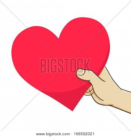 Vector stock of hand holding and giving heart shaped love symbol