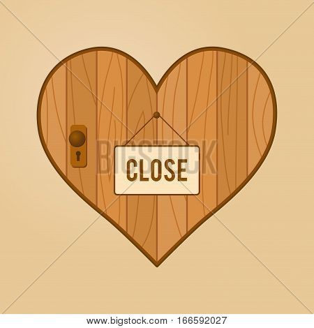 Vector stock of heart shaped wooden door with close hang sign in front of it