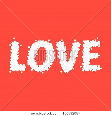 Vector stock of love typography design made from tiny heart symbols happy valentines background