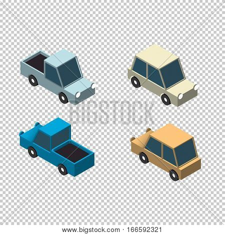 Isometric car and pick up 3d icons set isolated vector illustration
