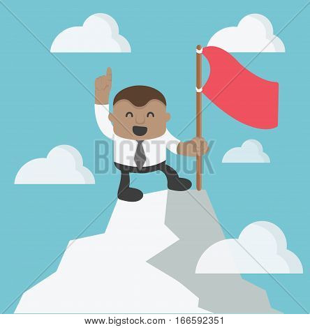 Young African Businessman Finger pointing up on hilltop of Success have red flag