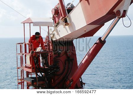Crane construction on Oil and Rig platform for support heavy cargo