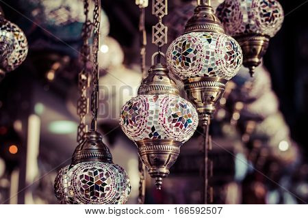 Traditional Turkish Lamps In Street Shop In Istanbul