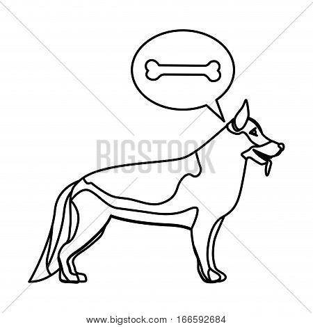 black contour with german shepherd dog thinking bone vector illustration