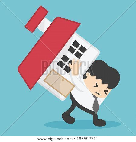 Businessman home loan liability. real estate value illustration