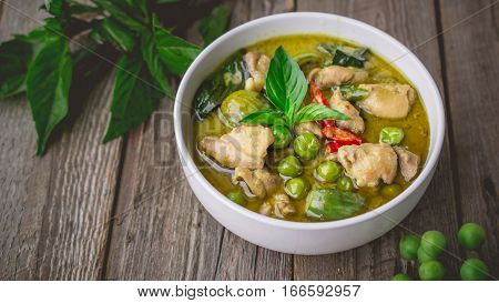 Chicken Green Curry with Ingredients Thai Cuisine Tradition and Famous on Wooden