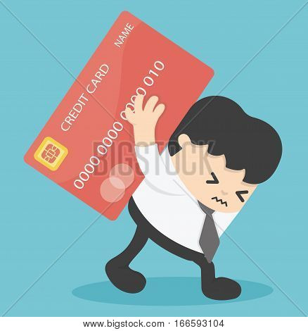 Businessman Credit Cards loan liability. real estate value illustration poster