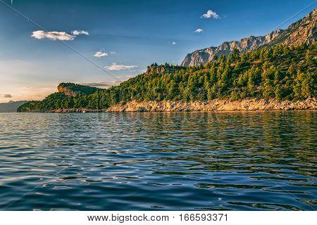 Tucepi view from the boat towards the Biokovo mountain, Adriatic Sea Croatia.