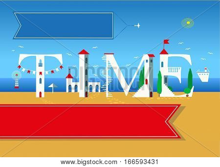 Time. Travel card. White buildings on the summer beach. Red banner for custom text. Plane in the sky with blue banner for custom text.