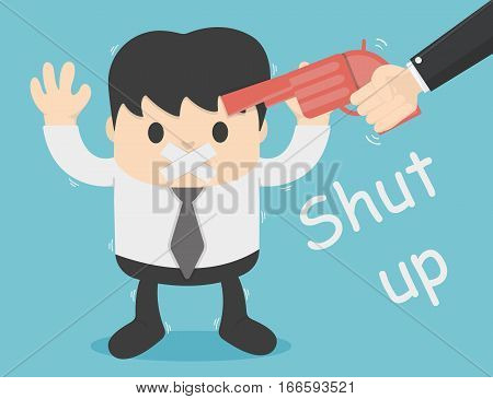 concept illustration forced silence shut up with guns No talking