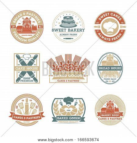Bakery shop vintage isolated label set. Bread and cake house symbols. Sweet bakery icon. Premium quality, always fresh product. Cakes and pastries logo. Baked goods. Rolling pin, cook cap, mill sign. Bakery logo template. Bakery shop icon collection. Bake