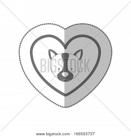 grayscale silhouette middle shadow sticker with husky dog inside of heart vector illustration