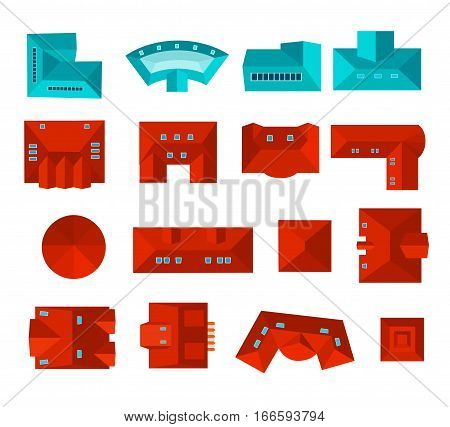 Top view of roof set isolated vector illustration. Private house, business center, hotel, estate apartment, skyscraper, cottage and other building roof. Cityscape map or plan design collection. Roof top icon. Cartoon vector roof.