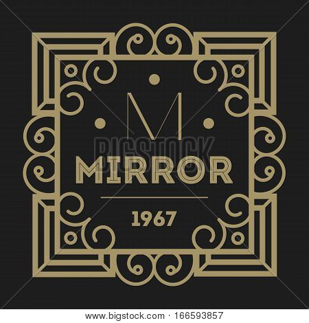 Geometric monogram vintage abstract logo vector. Luxury insignia logo vector. Monogram emblem insignia. Vector monogram sign. Isolated monogram symbol. Luxury logo for abstract brand. Vintage monogram logo on black background.