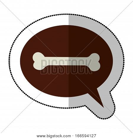 color middle shadow sticker and dialogue sphere with pet bone vector illustration