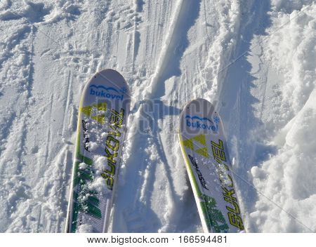BUKOVEL, UKRAINE - December 2, 2016: Ski with Bukovel sign on ski slope. Bukovel is the most popular ski resort in Ukraine.