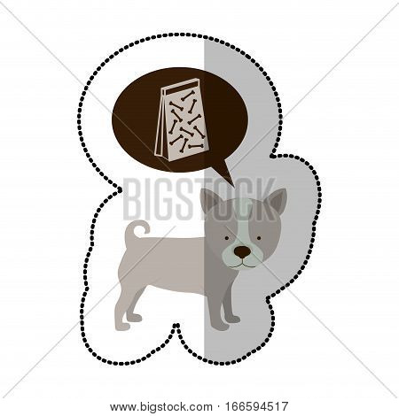 colorful image middle shadow sticker with husky dog thinking pet bag poop vector illustration